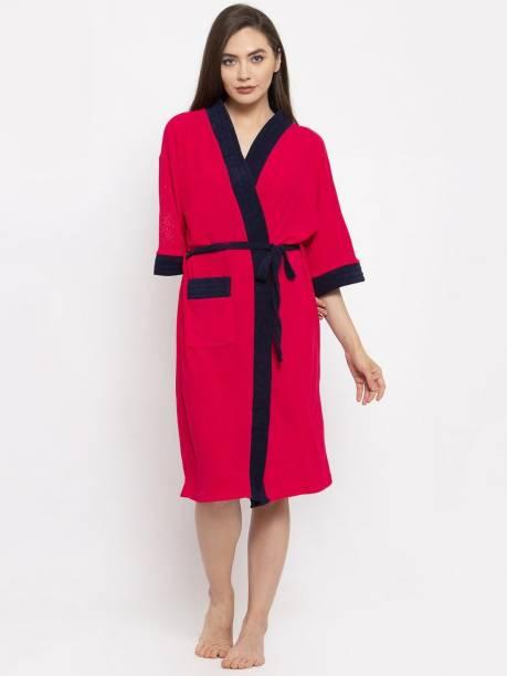 Flipkart SmartBuy Pink Free Size Bath Robe