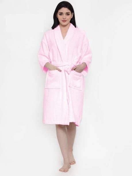 Flipkart SmartBuy Baby Pink Free Size Bath Robe