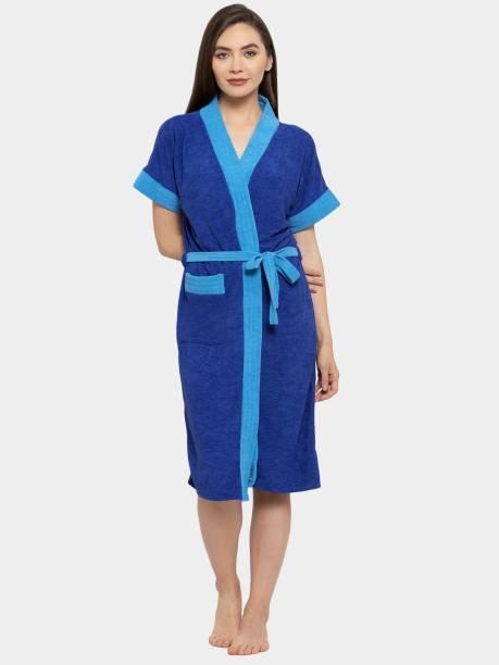 Flipkart SmartBuy Dark Blue Free Size Bath Robe
