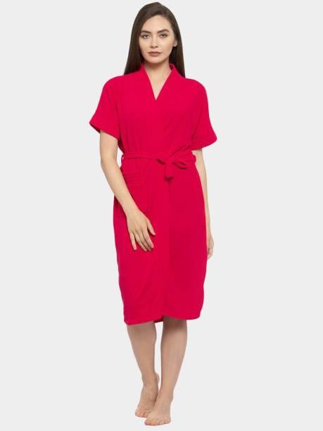 Flipkart SmartBuy Deep Pink Free Size Bath Robe