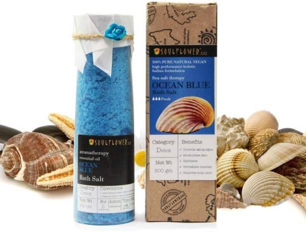 Soulflower Ocean Blue Ocean mineral Bath Salt 500g, For Muscle Relief, Eliminates Dryness, Preservatives Free, Rejuvenate Skin�s Health