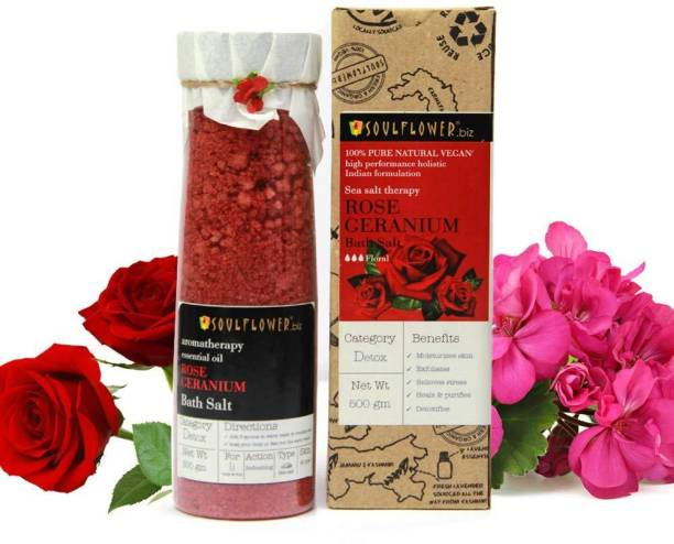 Soulflower Rose Geranium Bath Salt 500g, For Muscle Relief, Exotic & Indulging, Preservatives Free, Soothes Irritation