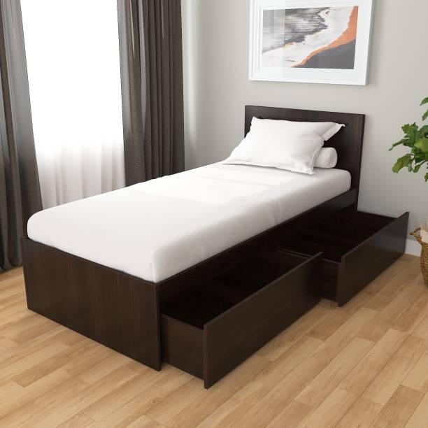 Studio Kook Tribe Right with Headboard Engineered Wood Single Drawer Bed