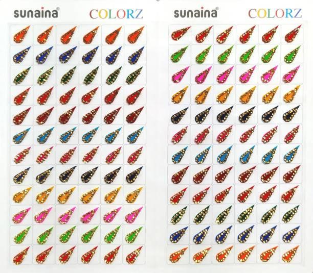 SUNAINA COLORZ Multicolour TILAK (DROP) Stone Border 144 Bindi Book For Women FOREHEAD Multicolor Bindis