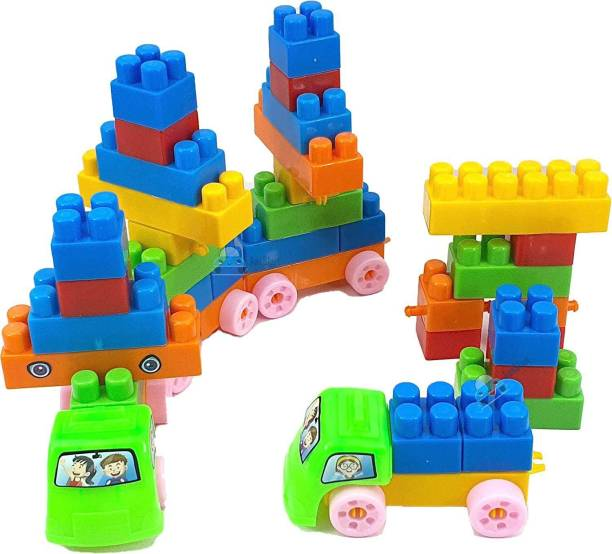 FunBlast Building Blocks for Kids with Wheel, Train Shaped Building Block Toy, Best Gift Toy, Multicolor (Set of 40 Blocks with 16 Wheels)