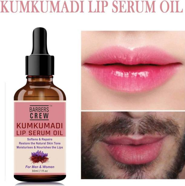 Barbers Crew Premium Kumkumadi Lip Serum Oil For Glossy & Shiny Lips with moisturisation effet- For Men and Women - strawberry