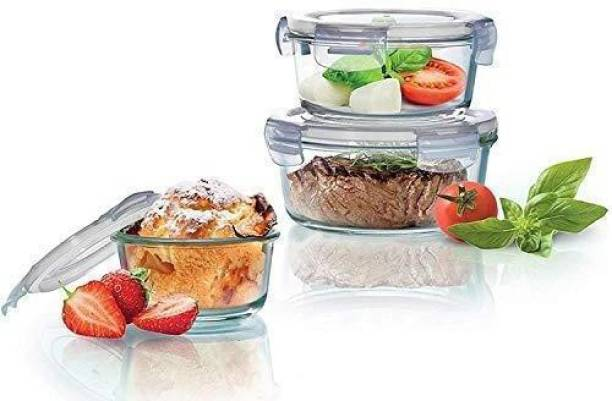 ARI Lock and Seal Kitchen Glass Containers for Storage Set Airtight Food & Fridge Jars Canister Jar and Container Dal / Stackable / Snacks / Atta / Cereals Round Set of 3(950ml, 620ml, 400ml) 3 Containers Lunch Box