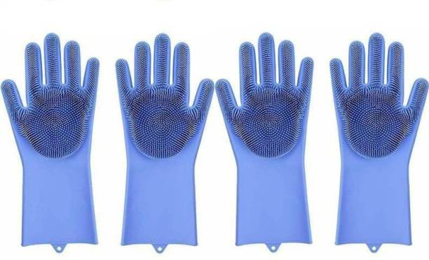 Happysome Silicone Scrubbing Gloves, Non-Slip, Dishwashing and Pet Grooming, Magic Gloves for Household Cleaning Great for Protecting Hands in Dish Washing Wet and Dry Glove Set Wet and Dry Glove Set