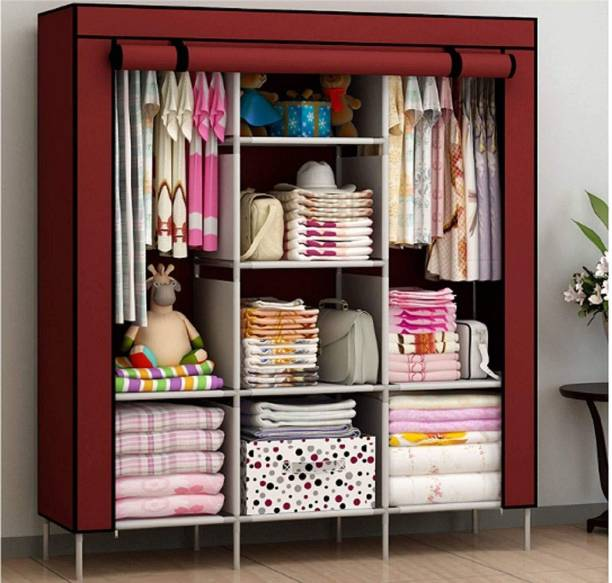Balaji 6+2 Shelves 3 door PP Wardrobe PVC Collapsible Wardrobe