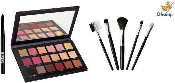 Dhaniji Smudge Proof Essential Makeup HD2 Beauty Kajal & Rose Gold Remastered Eyeshadow Palette & 5in1 Makeup Brush Set (7 Items in the set)