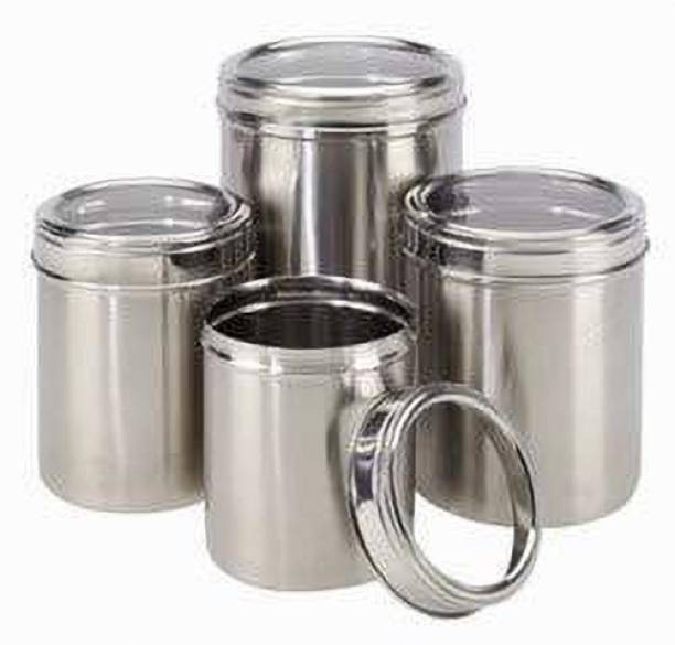 Renberg Stainless Steel Canister Set of 4, 450ml, 650ml, 1050ml, 1250ml, Silver (RBIN-6088)  - 1250 ml Steel Utility Container