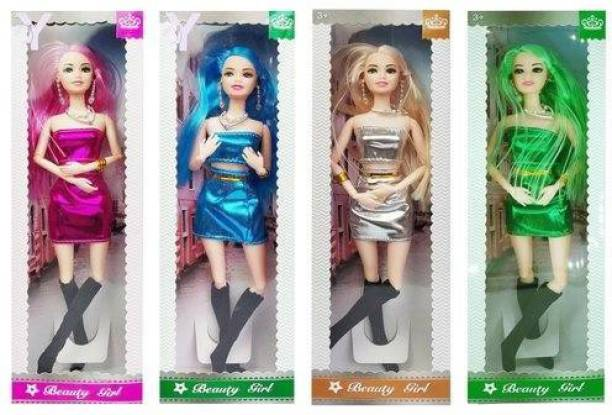 tenco Dolls For Girls, Doll Set, Doll Set For Girls , doll for Kids Girls with Foldable Hands and Legs (Pack Of 4) (Multicolor)