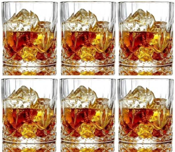 Coozico (Pack of 6) Crystal Clear Fancy Whiskey Scotch glass Glasses Set Glass Set