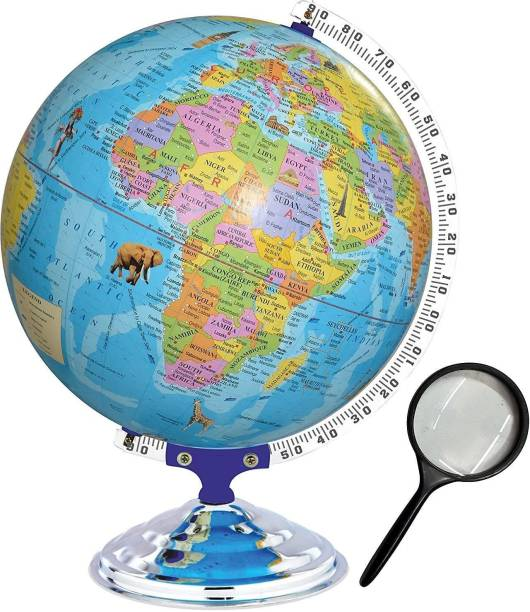 PS SHEVIN Educational Political Globe Big Size 12 inch with Magnifying Glass Steel Finish Arc and Base Laminated Rotating World Globe/Office Globe/Political Globe(Blue) Best Gift for Kids DESK TABLE TOP Political World Globe