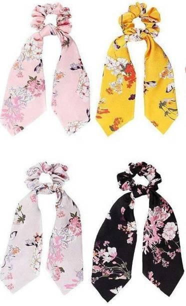 Panaah Girls hair ribbon scrunchies ties scarf hair band | pony tail holder | pack of 3 | Multicolor Rubber Band (Multicolor) Rubber Band