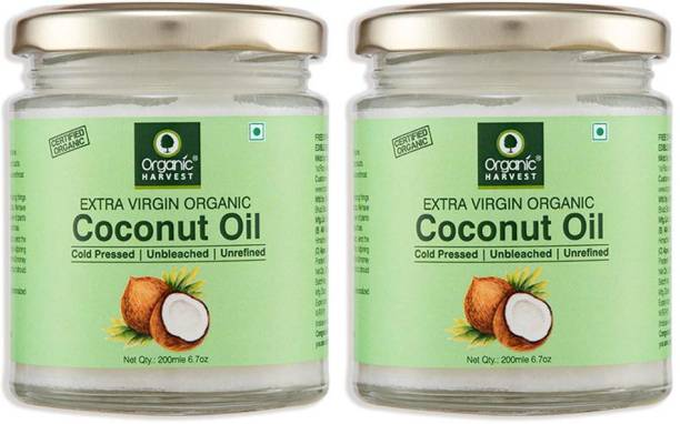 Organic Harvest Cold Pressed Extra Virgin Coconut Oil For All Type Skin & Hair Growth | Premium Grade Edible Coconut Oil for Cooking | Unbleached & Unrefined | Sulphate & Paraben free Hair Oil (Pack of 2) Hair Oil