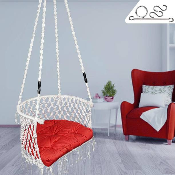 Patiofy White Premium C Shaped Swing/Jhula Cotton Large Swing
