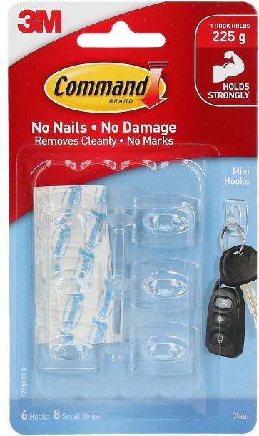 Command Command™ Clear Mini Hooks , 6 hooks, 8 strips Hook