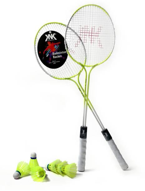 KNK Double Shaft Florescent Badminton Racket Pack Of 2 Piece With 6 Piece Plastic Shuttles Badminton Kit