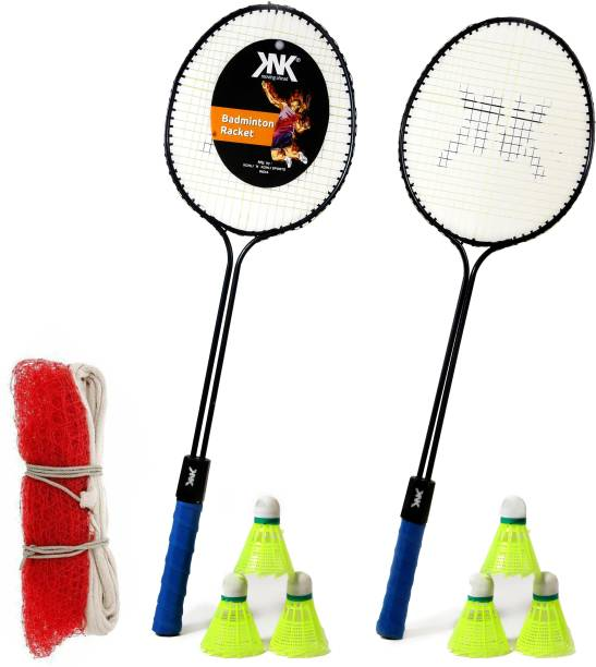 KNK Double Shaft Single Colour Set Of 2 Piece Badminton Racket With 6 Piece Plastic Shuttles And 1 Piece Badminton Net Badminton Kit