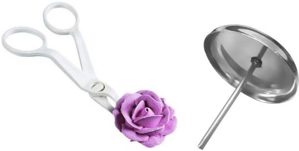 Tuelip Stainless Steel Cake Cupcake Icing Cream Decorating Nail Tool with Plastic Flower Lifter Stainless Steel Cake Cupcake Icing Cream Decorating Nail Tool with Plastic Flower Lifter Silver, White Kitchen Tool Set
