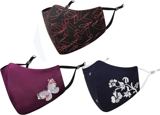 MASQ Anti-Pollution, Anti-Bacterial (BFE>99%) 4 Layer Embroidered, Designer, Fashionable & Protective Cotton Cloth Face Mask for Women, Girls with Size Adjustable Ear Loops Butterfly_Combo_Medium_03 Reusable, Washable Cloth Mask
