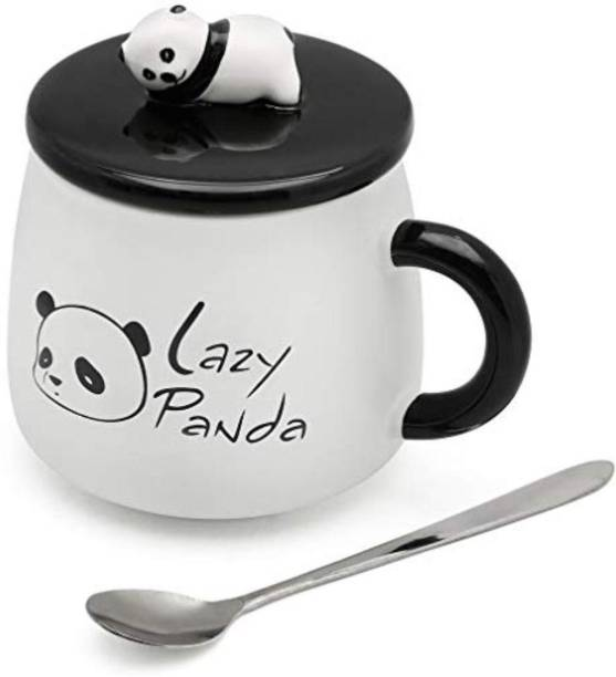 Satyam Kraft Cute 3D Lazy Panda Printed Panda Ceramic Coffee Milk Tea Cup with Funny Lid and Stainless Steel Spoon-Perfect Novelty Gift for Mom, Girls, Girlfriend, Wife, Panda Lovers Ceramic Coffee Mug