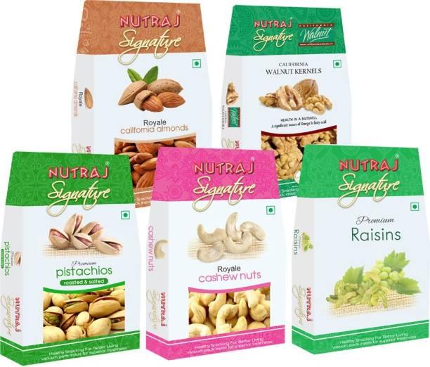Nutraj Signature Daily Needs Pack of 5 (1000 g) Pistachios, Cashews, Walnuts, Almonds, Raisins