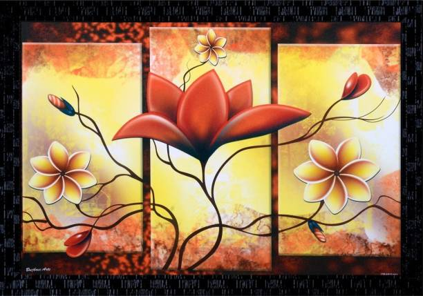 Janki Flower Wall Painting with home Frame home decoration item Canvas 14 inch x 20 inch Painting