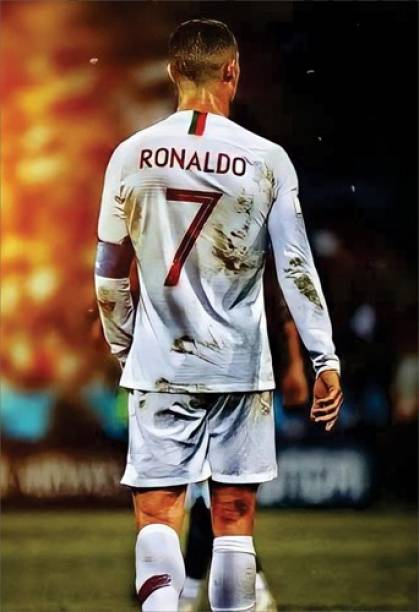 Cristiano Ronaldo Wall Poster For Home And office Décor Print on 300gsm Thickness Paper With Gloss Lamination And Both Side Tapeing on Poster Back Side (Size 13 Inch X 19 Inch, Rolled) Multicolor Paper Print