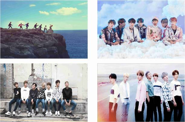 BTS Kpop Combo Poster Set of 4 Posters With Gloss Lamination M2 Paper Print