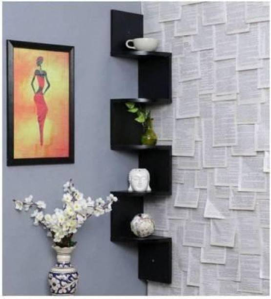 ANTIQUEKING Wooden Wall Rack & Wood Wall Shelves & Wood Zigzag & Wall Corner & Wood Corner & Showpiece Stand Wooden Wall Shelf