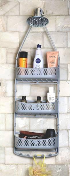 Solomon ™ Premium Quality 3 Layer Bathroom Shower Shelve Hanging Shower Caddy Rack For Shampoo | Conditioner | Soap | Body Wash | Plastic Wall Shelf | Shelve Plastic Wall Shelf