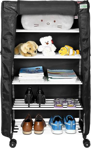 FLIPZON Multipurpose 5 Shelves/Layer Shoe Rack Organizer with Wheel and Cover Metal Shoe Stand