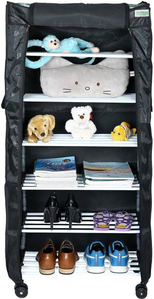 FLIPZON Multipurpose 6 Shelves/Layer Shoe Rack Organizer with Wheel and Cover Metal Shoe Stand
