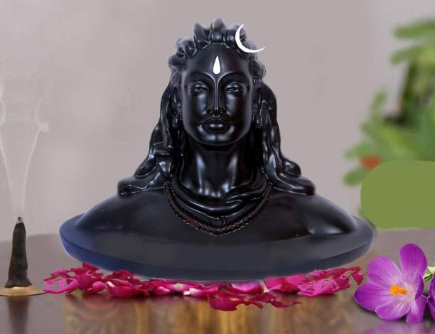 YDI Lord Shiva in Dhyana Mudra Adiyogi Shiva Idol for Home Decor, Gift & Puja, Matte Black Decorative Showpiece  -  16.5 cm