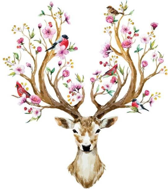 ASIAN PAINTS Extra Large Wall-Ons 'Deer Antlers' Decal, DIY Removable Peel and Stick Wall Sticker