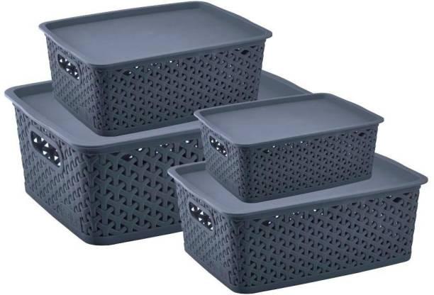 Flipkart SmartBuy Combo Of 4 Multi-Size Multipurpose Basket Storage Premium Plastic With LID Storage Basket Storage Basket
