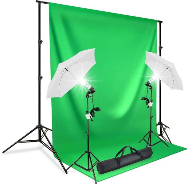 GiftMax Photography Continuous Umbrella Studio Light Lighting Kit with Green Screen Photo Background Backdrop Stand Support System (Single Holder Kit Set of 2 with Background Stand) Reflector