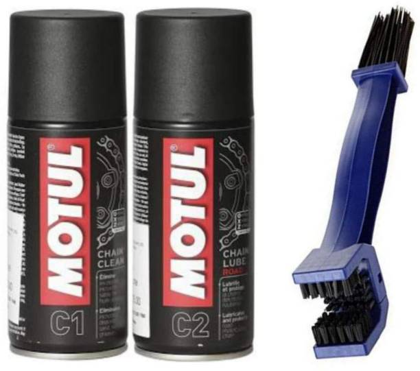 tomo Motul C1 150 ML Chain Clean, Motul C2 150 ML Chain Lube, Motorcycle Chain Cleaning Brush Combo