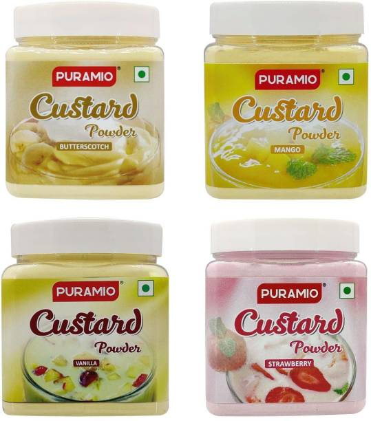 PURAMIO Custard Powder, 250g Each (Pack of 4)- (Vanilla, Strawberry, Mango & Butterscotch), Custard Powder