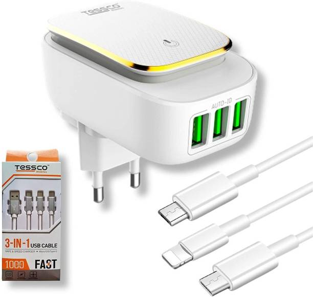 Tessco BC-208 Multi USB 3 Port Wall Mobile Charger Adapter with Android Micro USB cable with (GU-331) 3-in-1 Fast Charging USB Data Cable | LED Touch Lamp| US Indian Plug | 22 W 3.4 A Multiport Mobile Charger with Detachable Cable