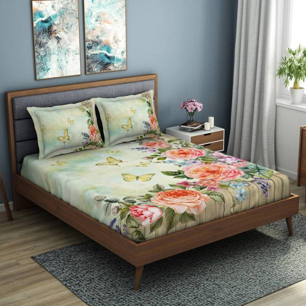 SPACES 210 TC Cotton Double King Floral Bedsheet