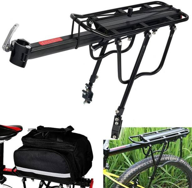 Xezon Bicycle Upgraded Solid and Secure Aluminum Alloy Metal High Strength Carrier Rack Aluminium, Steel  Bicycle Carrier