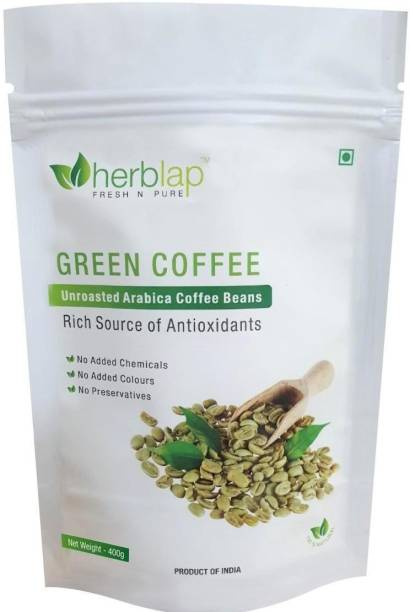 herblap Green Coffee beans for Weight Loss(Unroasted Beans) Instant Coffee (400 g) Coffee Beans