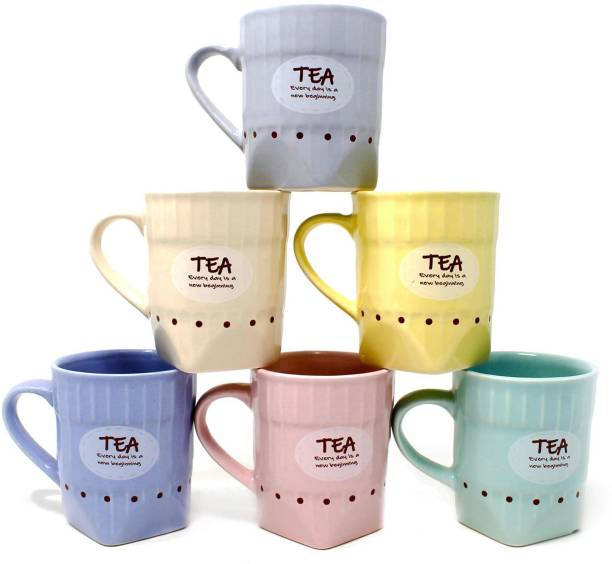 The Earth Store Pack of 6 Ceramic Handcrafted Ceramic Pastel Hexa Multicolor Microwave Safe Chai/Tea Cups Serving Tea Mugs Set Best Gift for Friends, Anniversary, Birthday