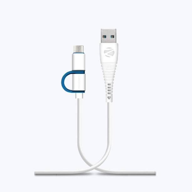 ZEBRONICS ZEB-UMCC1201 2 IN 1 TYPE C & 1.2 m Micro USB Cable