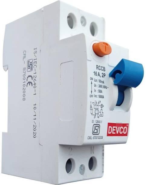 DEVCO 2-Pole 16-Amp (100mA)-RCCB RCC201610 MCB