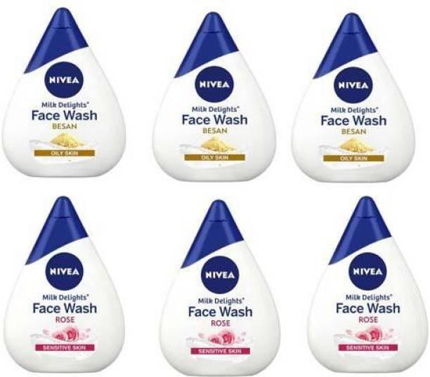 NIVEA Milk Delight 3 BESAN & 3 ROSE Facewash Face Wash