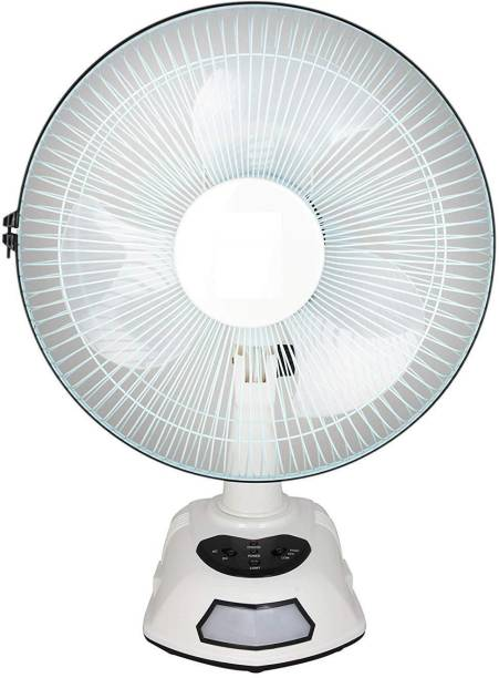 """WDS AK-8012 12"""" Rechargeable Ac/Dc Table Fan With Emergency Led Light, Solar Charging Facility (White, To Be Assembled As Per Manual) 3 Blade Table Fan"""